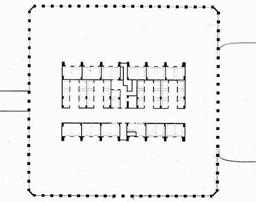 Позаимствовано с. Структурная схема здания, произошедшая от I.B.M. Building в Сиэтле, поражающе проста.